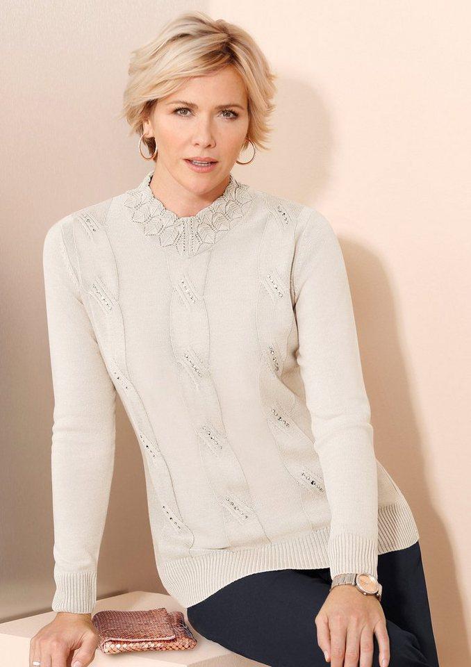 Classic Pullover mit aufwändiger Applikation aus Glitzersteinchen vorne in wollweiß