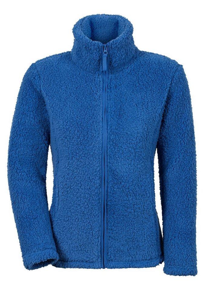 Collection L. Fleece-Jacke mit Umlegekragen in royalblau