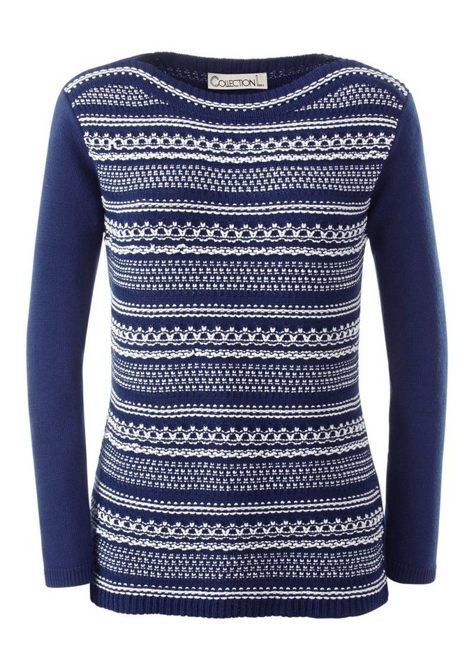 Collection L. Pullover mit effektvollem Strickmuster in marine-weiß