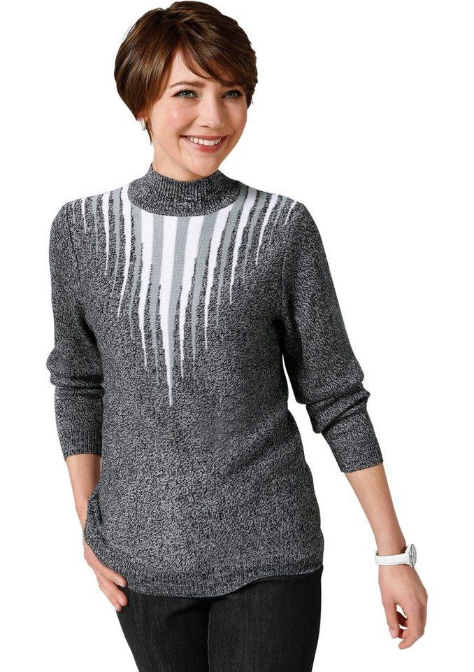 Classic Basics Pullover mit effektvollem Jacquarddessin in grau-meliert