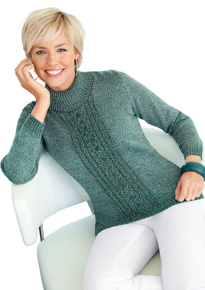 Collection L. Pullover mit klassischem Zopfmuster in mint-meliert