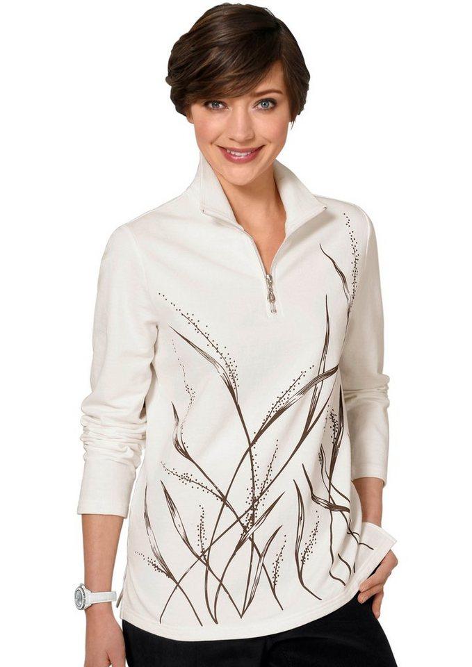Classic Basics Winter-Shirt mit einem zarten Gräsermotiv bedruckt in wollweiß-gemustert