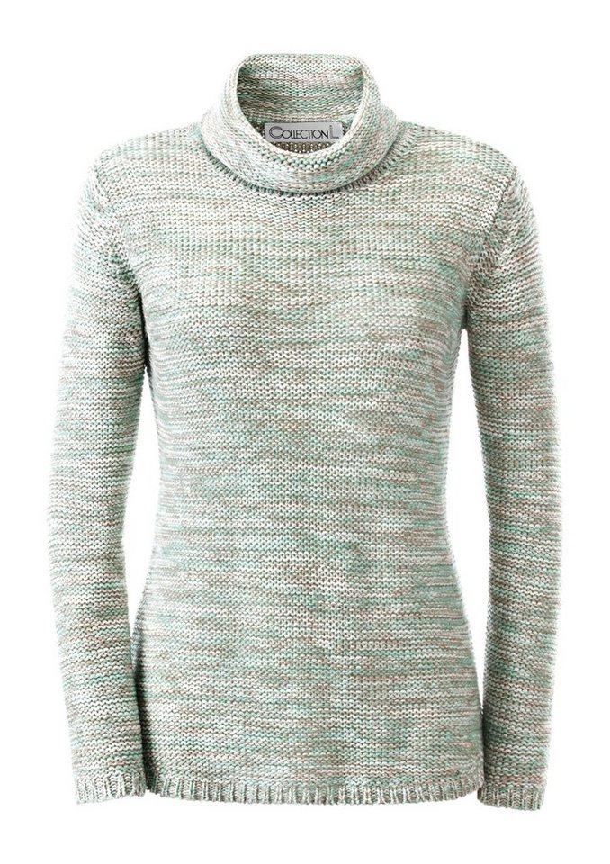Collection L. Pullover aus weichem Melangegarn in mint-meliert