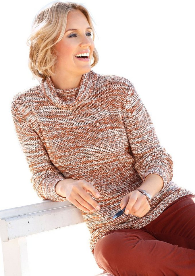 Collection L. Pullover aus weichem Melangegarn in zimt-meliert