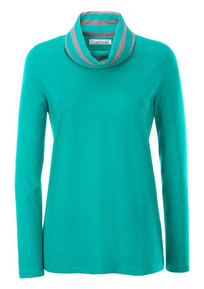 Collection L. Rollkragen-Shirt mit sportiven Streifen am Kragen in smaragdgrün