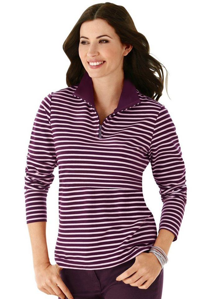 Classic Basics Shirt im farbharmonischem Streifendessin in aubergine-gestreift