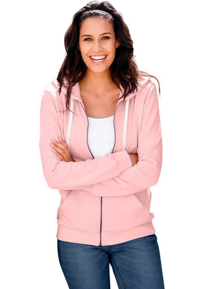 Collection L. Sweatjacke mit Kapuze in rosé