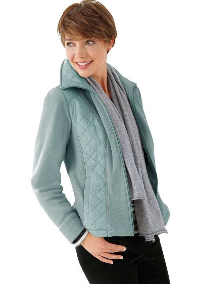 Collection L. Fleece-Jacke mit modischen Steppeinsätzen in wintertürkis