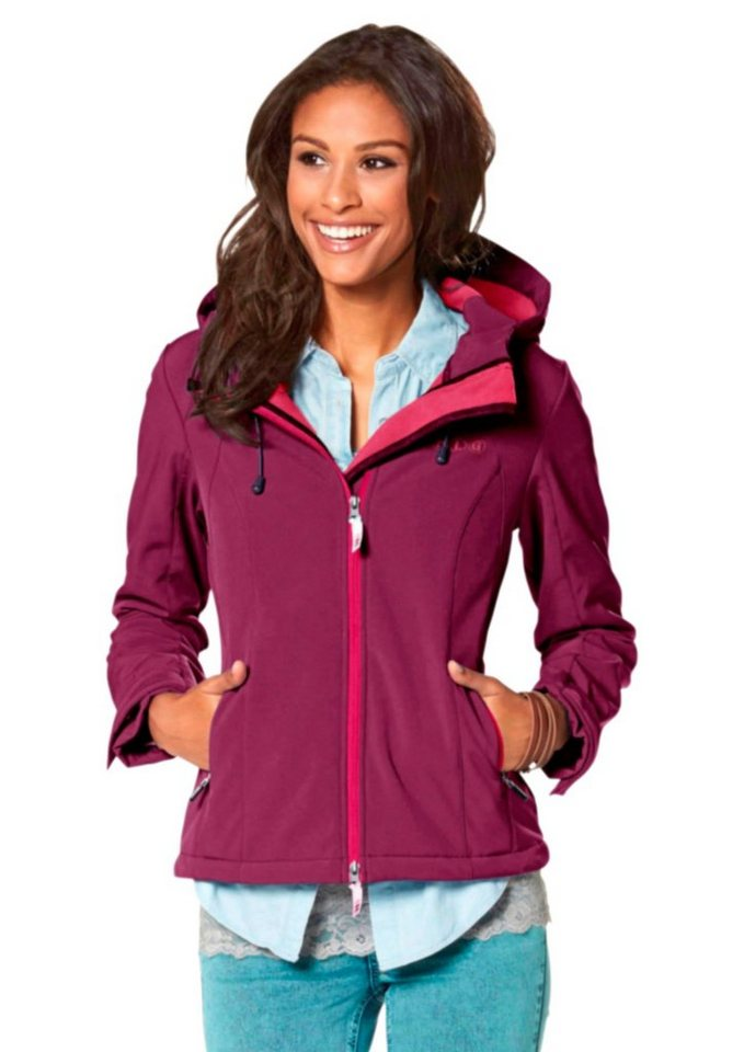 Collection L. Softshelljacke mit Fleecefutter in fuchsia