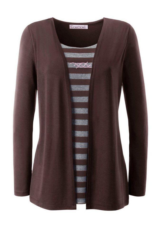 Collection L. 2-in-1-Shirt mit glänzenden Ziersteinchen in mokka-grau