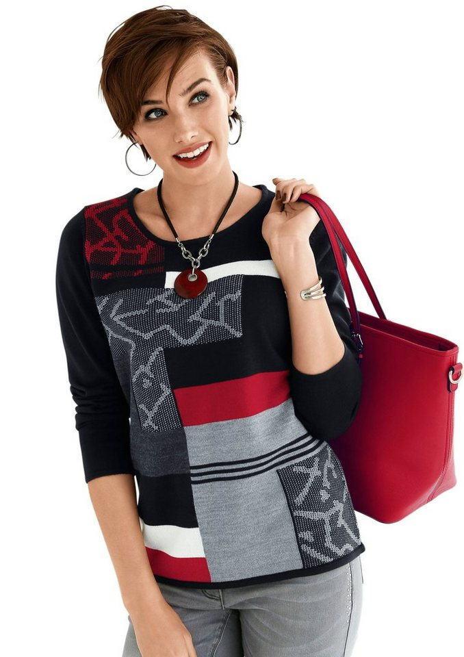 Classic Basics Pullover mit effektvollem Muster in schwarz-rot-gemustert