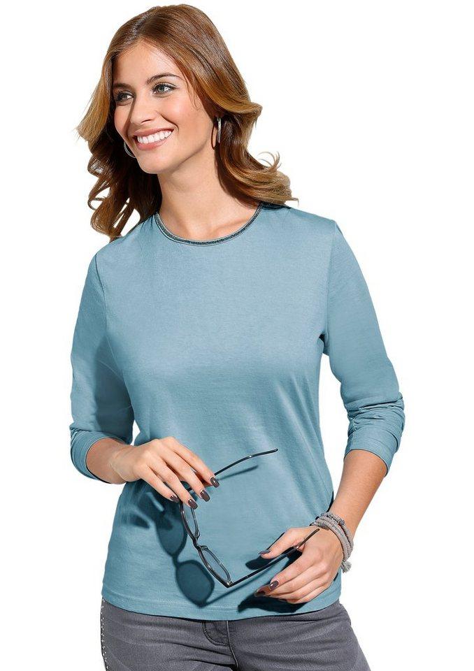 Classic Inspirationen Shirt mit feiner Zierperlen-Bordüre in eisblau