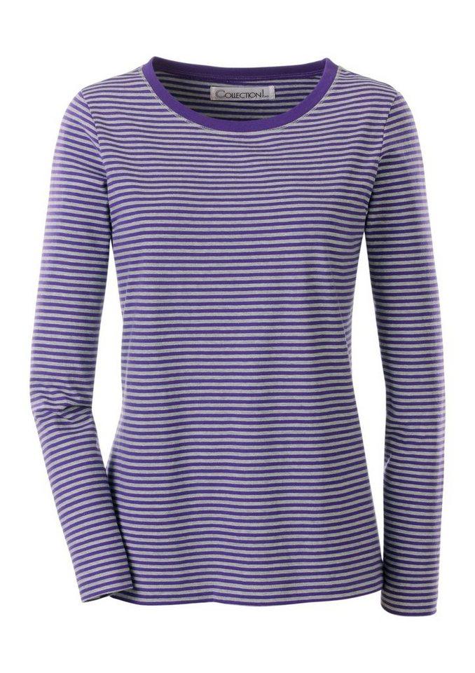 Collection L. Shirt im garngefärbten Melange-Ringel in lila-grau-geringelt
