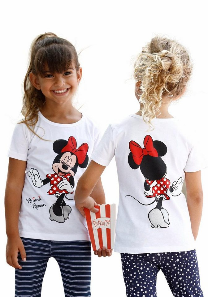 disney t shirt mit s em minnie mouse druck vorne und. Black Bedroom Furniture Sets. Home Design Ideas
