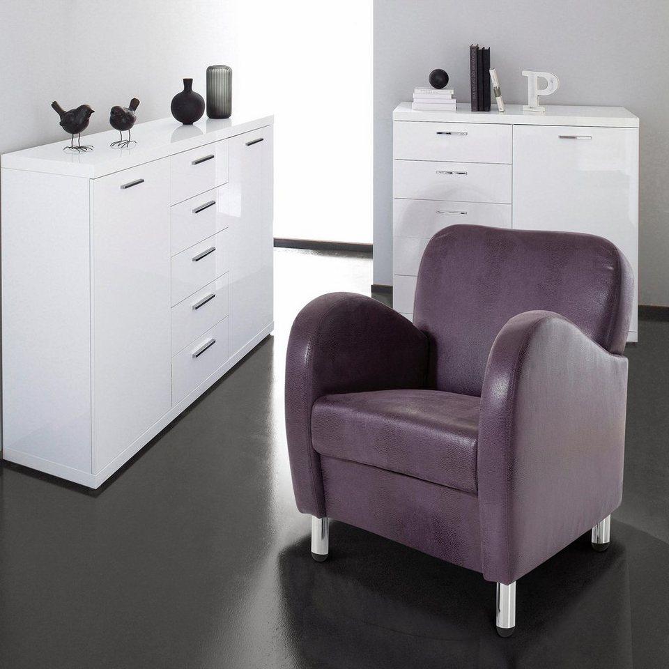 INOSIGN Sessel, in Schlangenleder-Optik in lila