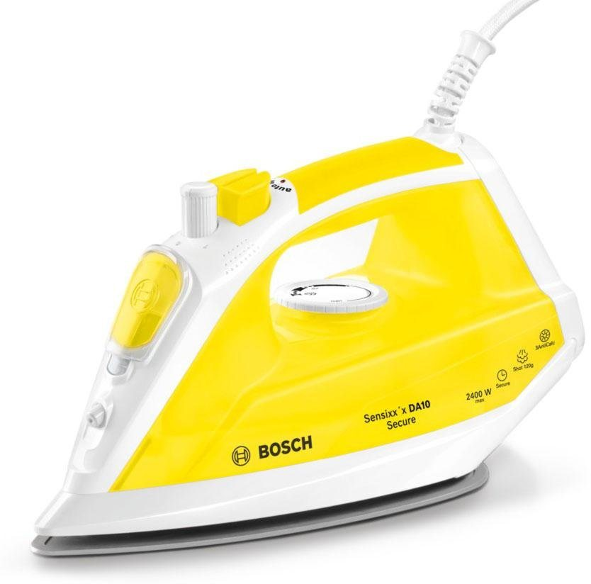 Bosch Dampfbügeleisen Sensixx'x DA10 Secure TDA1024140, PalladiumGlissée Bügelsohle, 2400 Watt in weiß-gelb