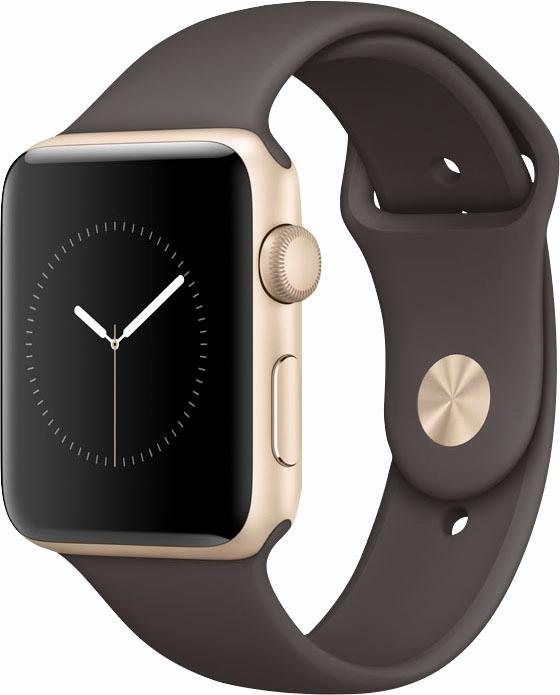 Apple Watch S2 Aluminiumgehäuse 42mm mit Sportarmband Smartwatch in Goldfarben/Dunkelbraun