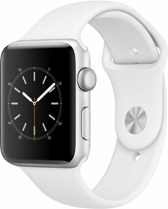 Apple Watch S2 Aluminiumgehäuse 42mm mit Sportarmband Smartwatch in Silberfarben/Weiß