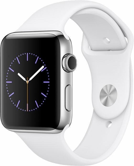 Apple Watch S2 Edelstahlgehäuse 42mm mit Sportarmband Smartwatch in Silberfarben/Weiß