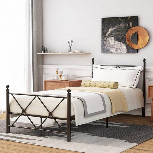PHOEBE CAT Metallbett, Einzelbett Jugendbett aus schönen Metallgestell mit Kopf- und Fußteil, in diversen Größen und Schwarz Farben