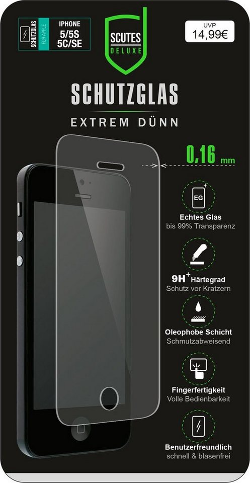 Scutes Deluxe GSM - Zubehör »Schutzglas - iPhone 5/S/SE«