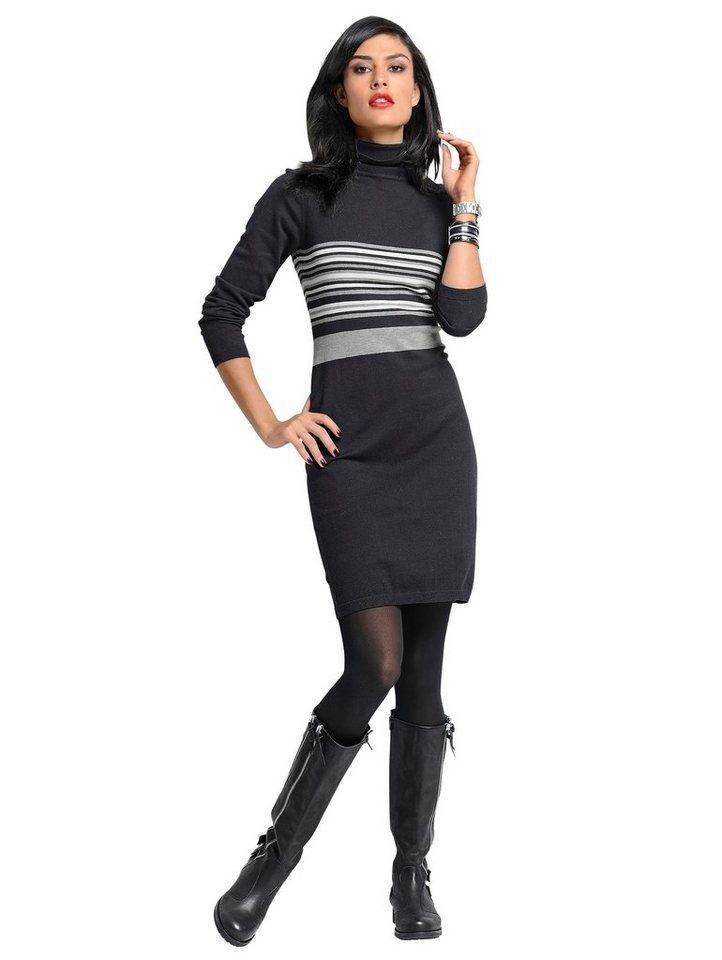 Alba Moda Strickkleid in schwarz/weiß