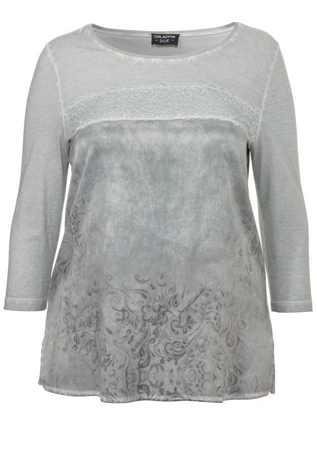 VIA APPIA DUE Blusen-Shirt / Tunika mit Spitze und Paisley-Print in BLASSGRÜN MULTICOLOR