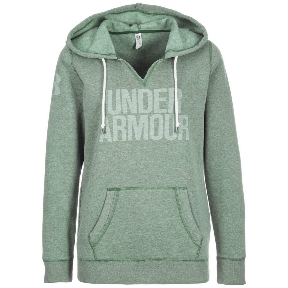 Under Armour® AllSeasonGear Favorite Trainingskapuzenpullover Damen in grün / weiß