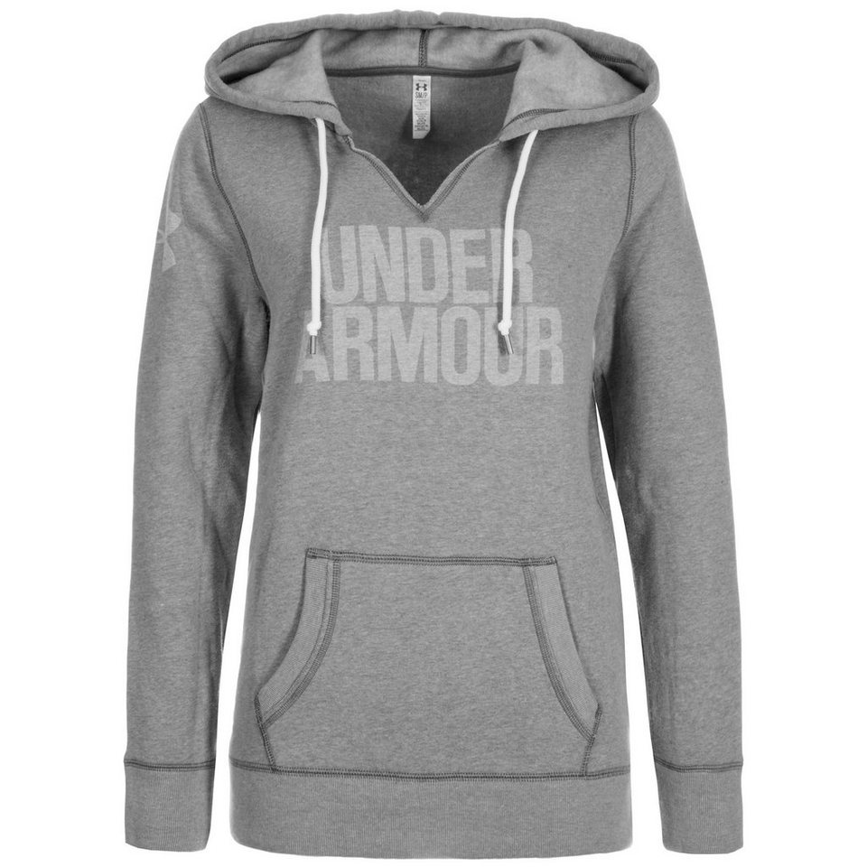 Under Armour® AllSeasonGear Favorite Trainingskapuzenpullover Damen in grau / weiß
