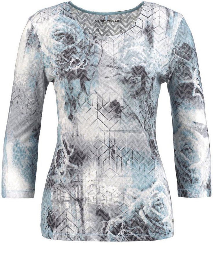 Gerry Weber T-Shirt 3/4 Arm »3/4 Arm Shirt mit Ausbrenneroptik« in Blau Druck