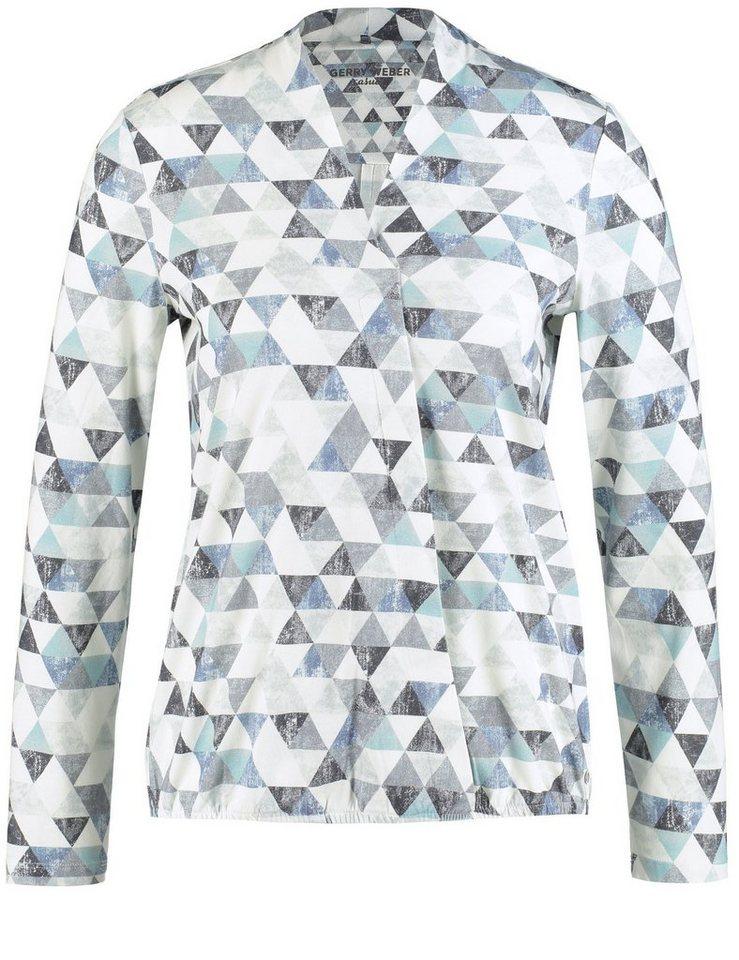 Gerry Weber T-Shirt 1/1 Arm »Langarmshirt mit grafischem Muster« in Ecru-Weiß-Blau Druck