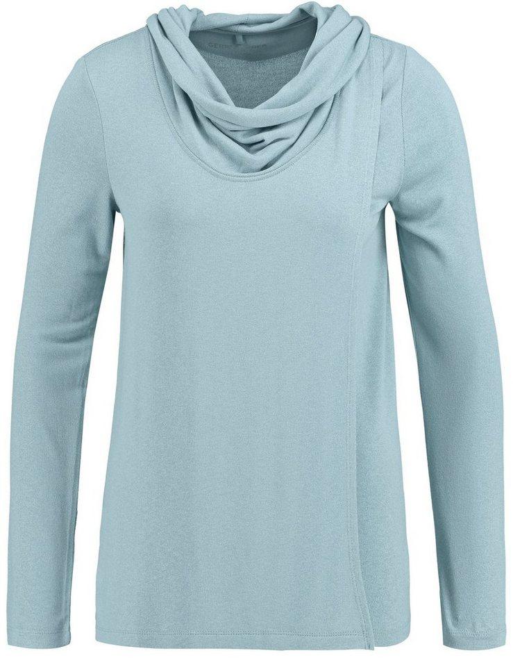 Gerry Weber T-Shirt 1/1 Arm »Langarmshirt mit Überwurfeffekt« in Eis