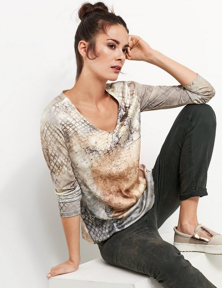 Taifun T-Shirt Langarm Rundhals »Slinky-Shirt mit Satin-Front« in Crème Brûlée Druck