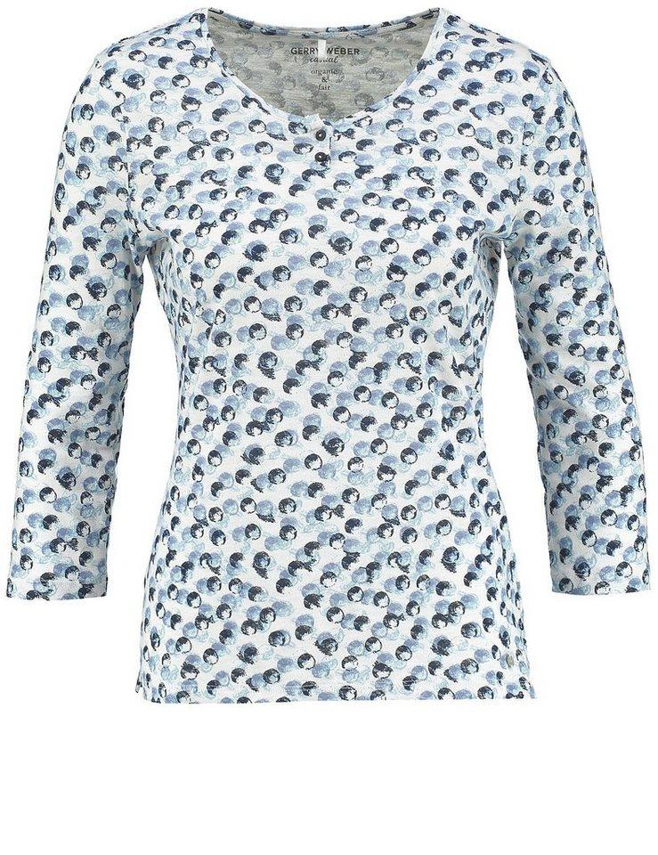 Gerry Weber T-Shirt 3/4 Arm »3/4 Arm Shirt aus Bio-Baumwolle« in Ecru-Weiß-Blau Druck