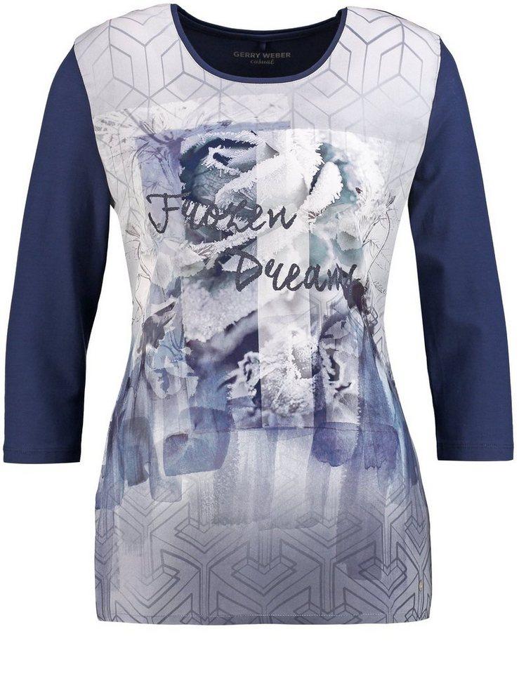 Gerry Weber T-Shirt 3/4 Arm »3/4 Arm Shirt mit bedruckter Front« in Blau Druck