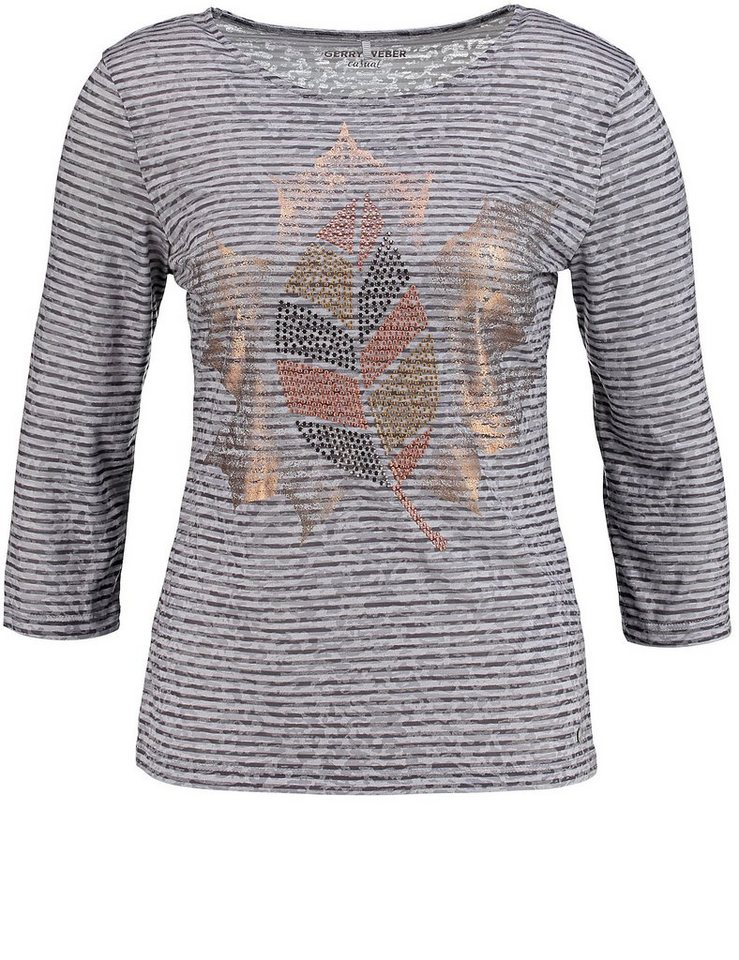 Gerry Weber T-Shirt 3/4 Arm »3/4 Arm Shirt mit Nietenapplikation« in Grau Ringel