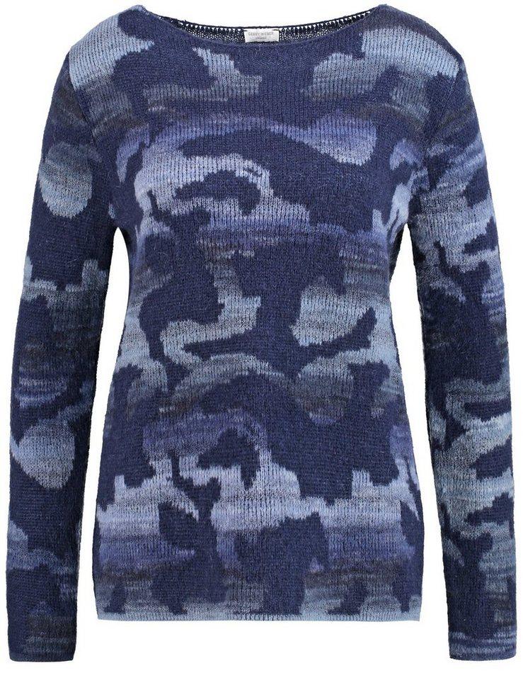 Gerry Weber Pullover Langarm Rundhals »Pullover mit modischem Muster« in Blau Gemustert