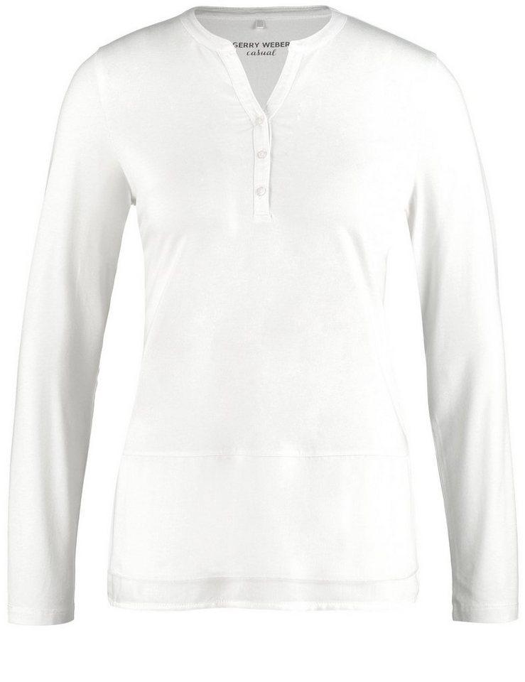 Gerry Weber T-Shirt 1/1 Arm »Langarmshirt mit offenem Ausschnitt« in Off-White