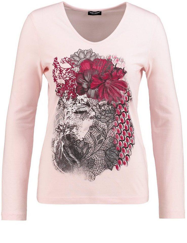 Gerry Weber T-Shirt Langarm Rundhals »Langarmshirt mit Frontprint« in Puder