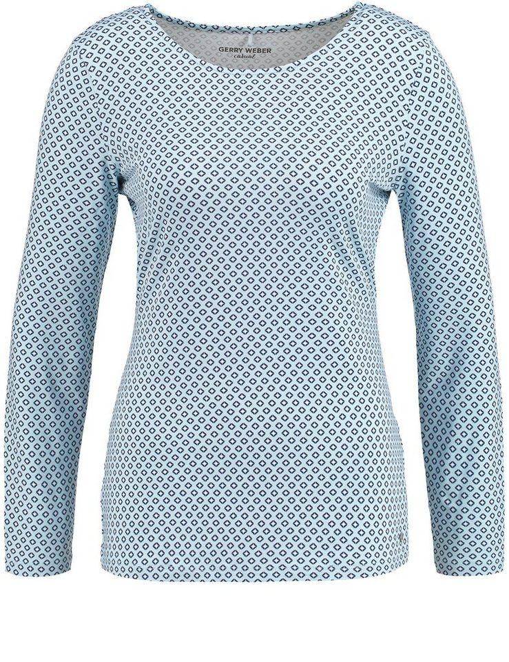 Gerry Weber T-Shirt 1/1 Arm »Langarmshirt mit Wasserfallausschnitt« in Blau Druck
