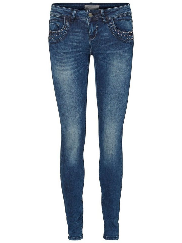 Vero Moda Five LW Skinny Fit Jeans in Dark Blue Denim