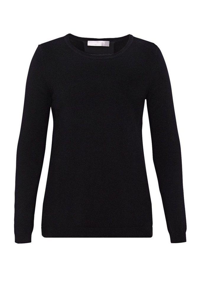HALLHUBER Wollpullover mit Seideneinsatz in schwarz