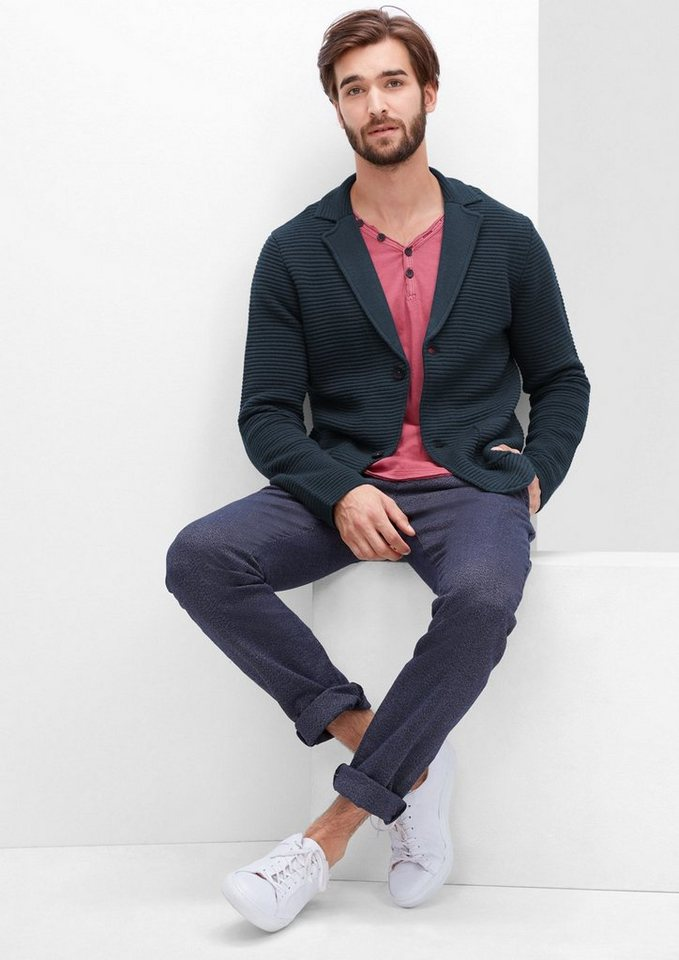 s.Oliver RED LABEL Cardigan im Sakko-Look in deep sea