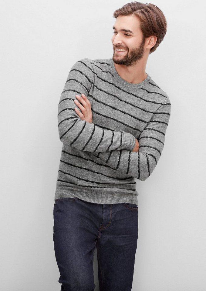 s.Oliver RED LABEL Strickpullover mit Streifen in blend grey