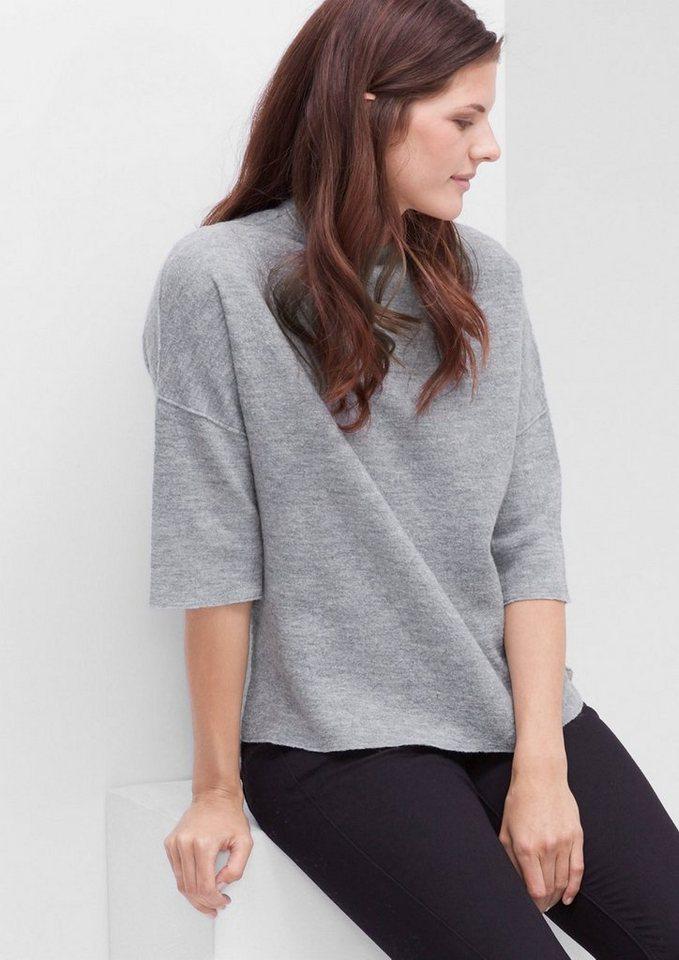 TRIANGLE Strickpulli aus melierter Wolle in light grey