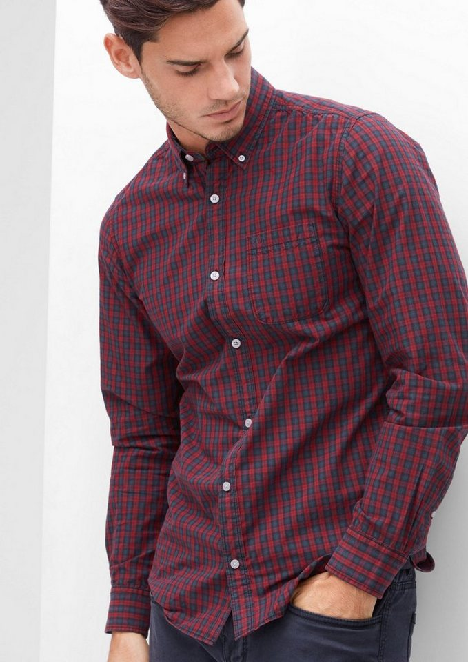 s.Oliver RED LABEL Slim: Button-Down-Karohemd in passion red