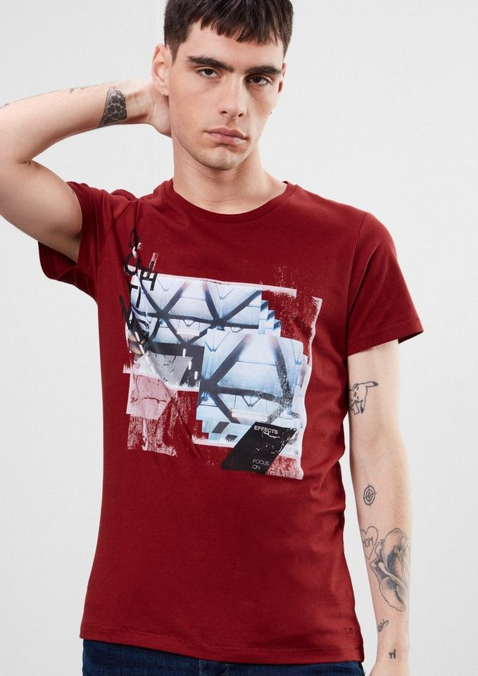 Q/S designed by Shirt mit Print-Collage in red