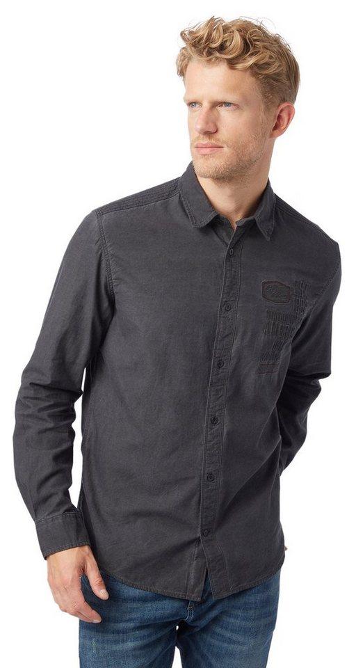 TOM TAILOR Hemd »ray washed biker detail shirt« in tarmac grey