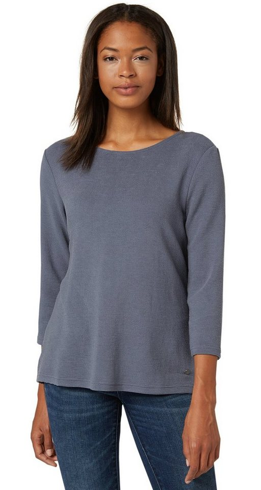 TOM TAILOR T-Shirt »structured shirt« in steal blue