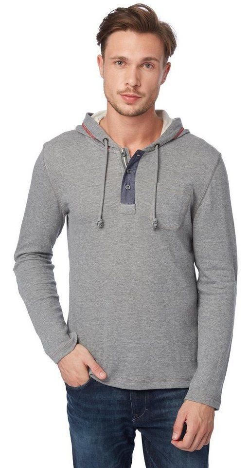 TOM TAILOR T-Shirt »Langarm-Shirt mit Kapuze« in rock mass grey melan